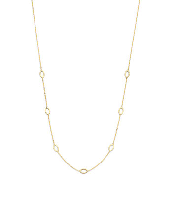 14 karaat geelgouden dames ketting - Jackie - Long Ovals Necklace