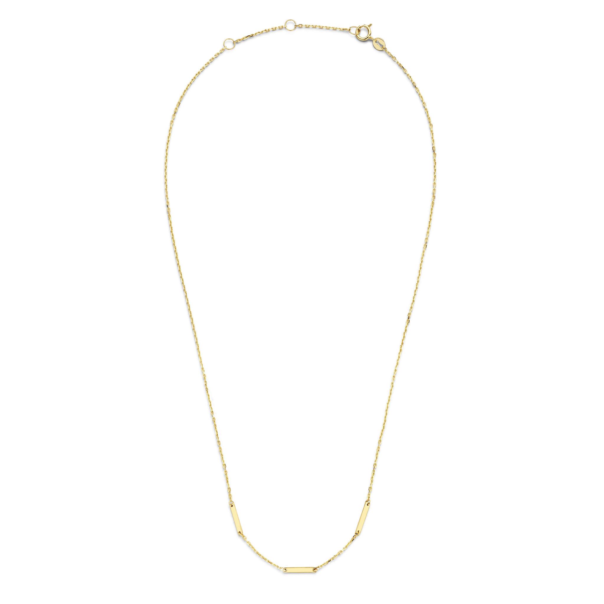 14 karaat geelgouden dames ketting - Jackie - Triple Bar Necklace-2
