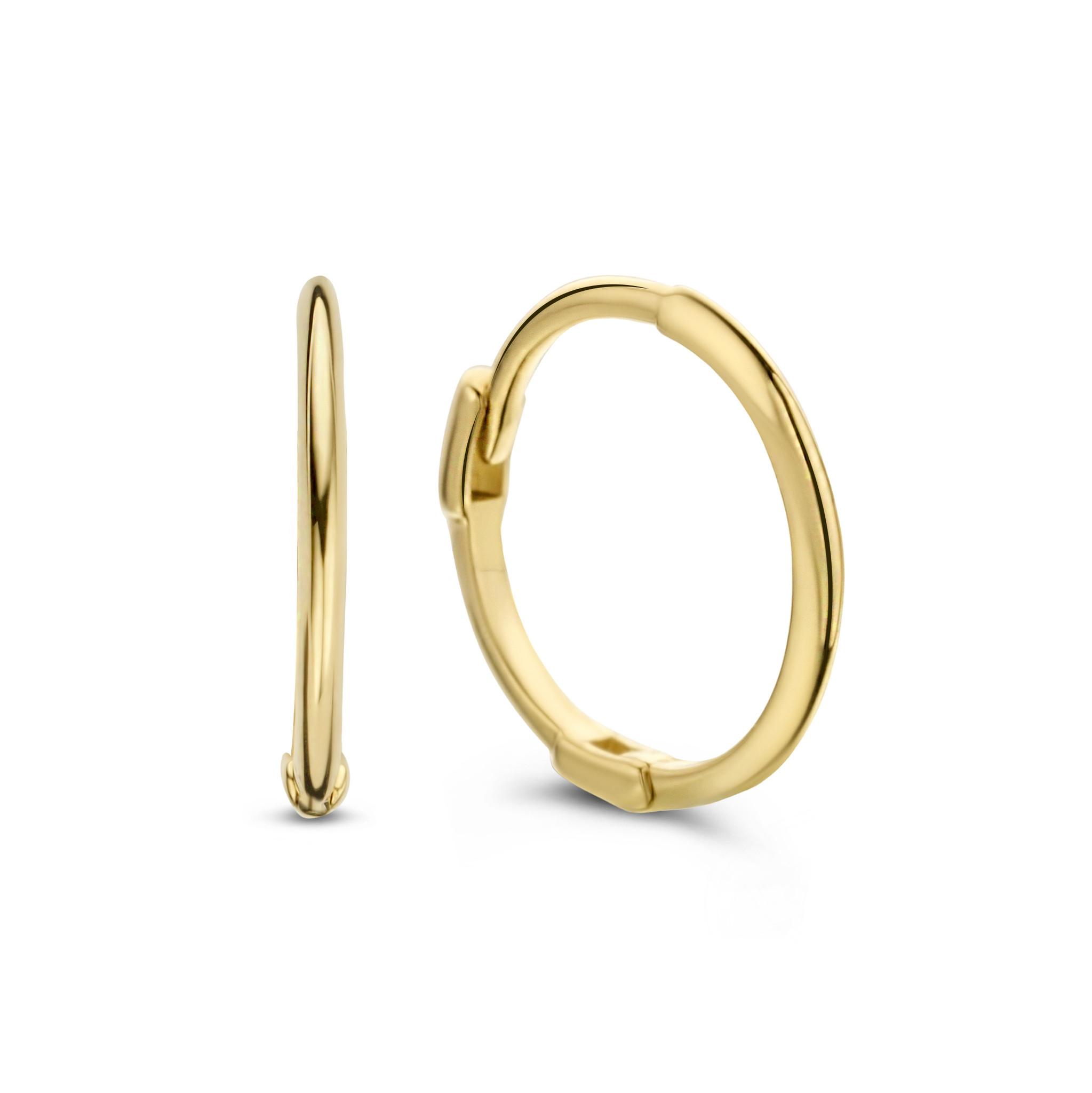 14 karaat geelgouden oorstekers - Jackie  - Mini Plain Hoops-1