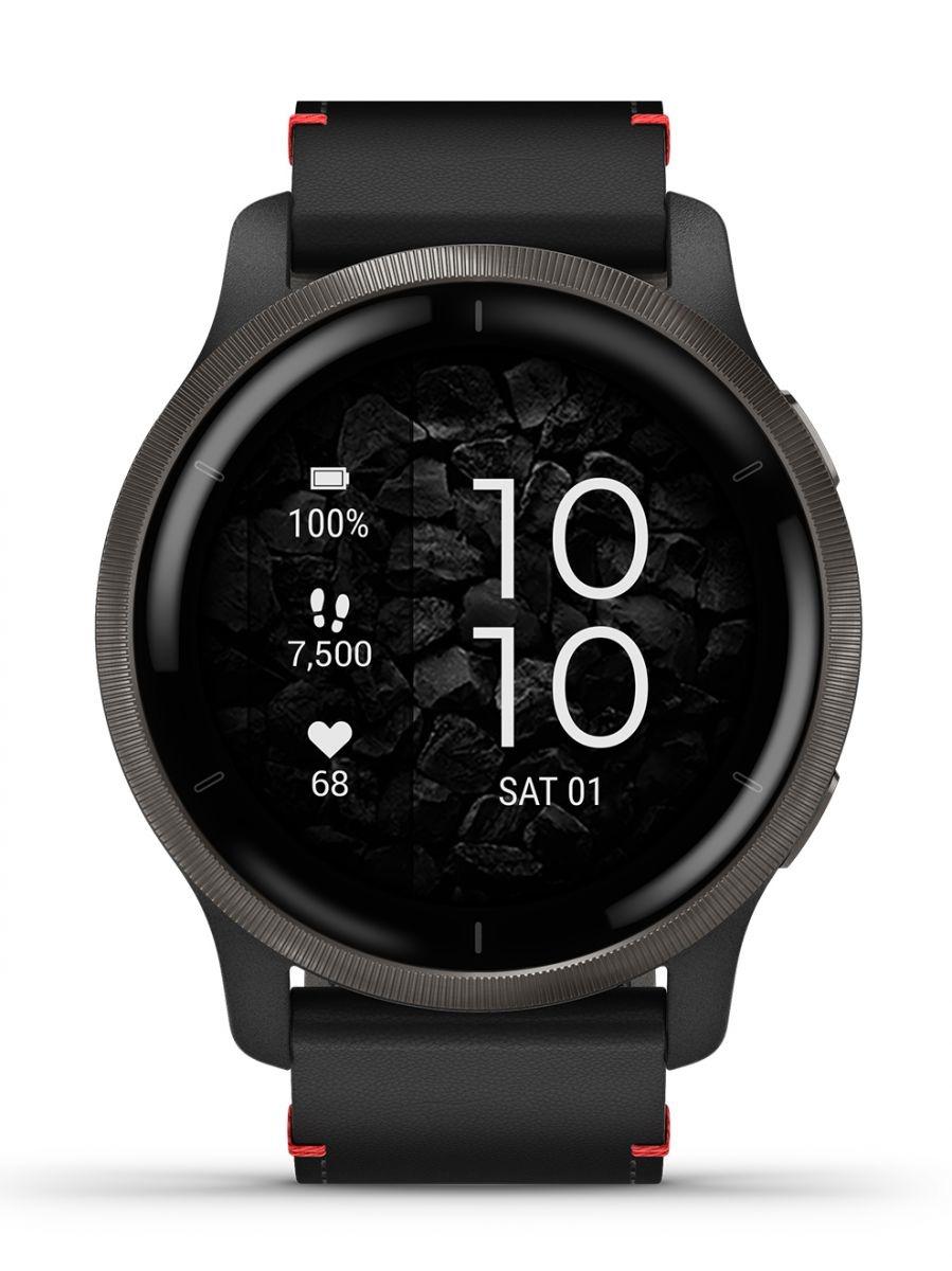 Garmin - Sport Horloge - Venu 2 - Slate rand van roestvrij staal met zwarte behuizing en leren polsband-1