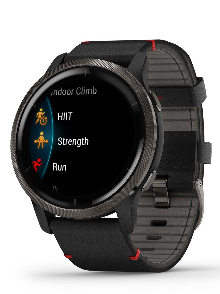 Garmin - Sport Horloge - Venu 2 - Slate rand van roestvrij staal met zwarte behuizing en leren polsband-3