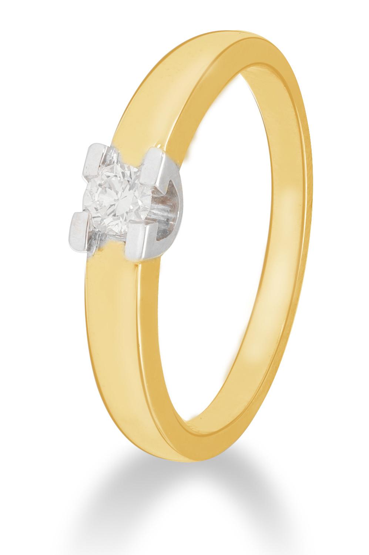 14 karaat geelgouden ring met diamant 0.10 crt. - Solitair - Geelgoud-1