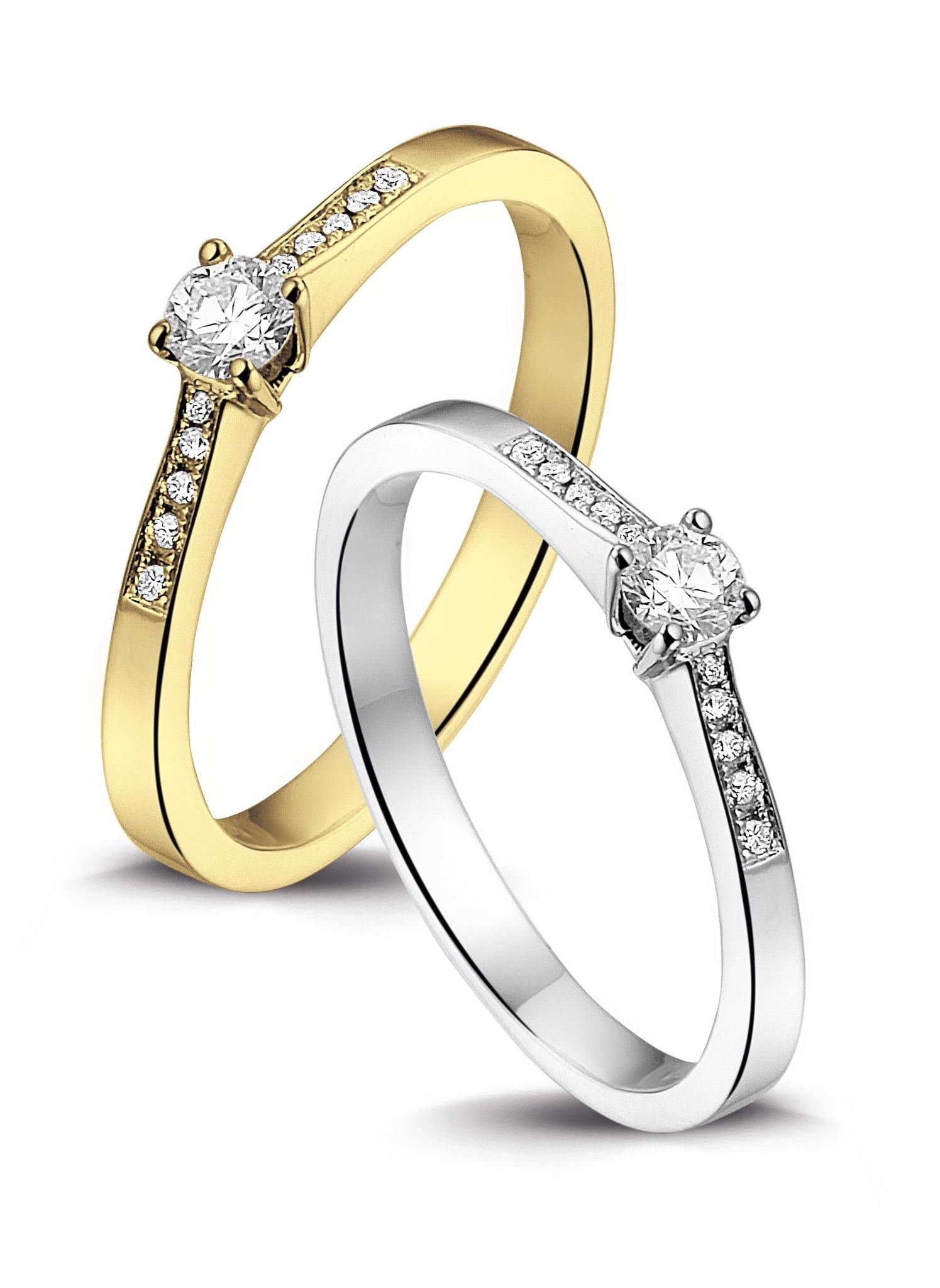 14 karaat witgouden ring met diamant 0.05 crt. - Solitair - Witgoud-2