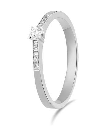 14 karaat witgouden ring met diamant 0.05 crt. - Solitair - Witgoud
