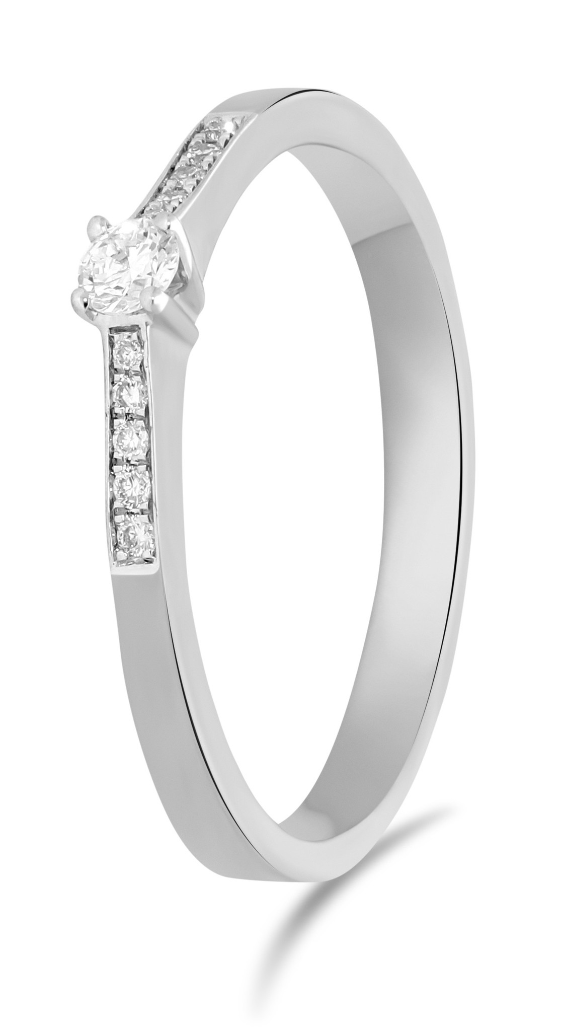 14 karaat witgouden ring met diamant 0.05 crt. - Solitair - Witgoud-1