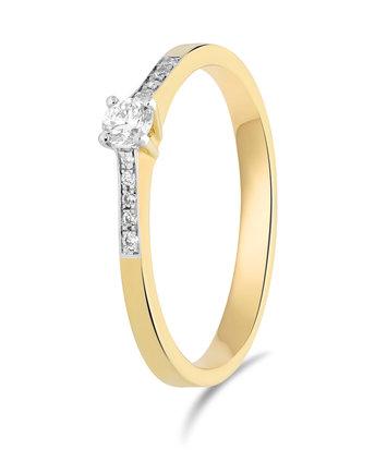 14 karaat geelgouden ring met diamanten 0.05 crt. - Solitair - Geelgoud