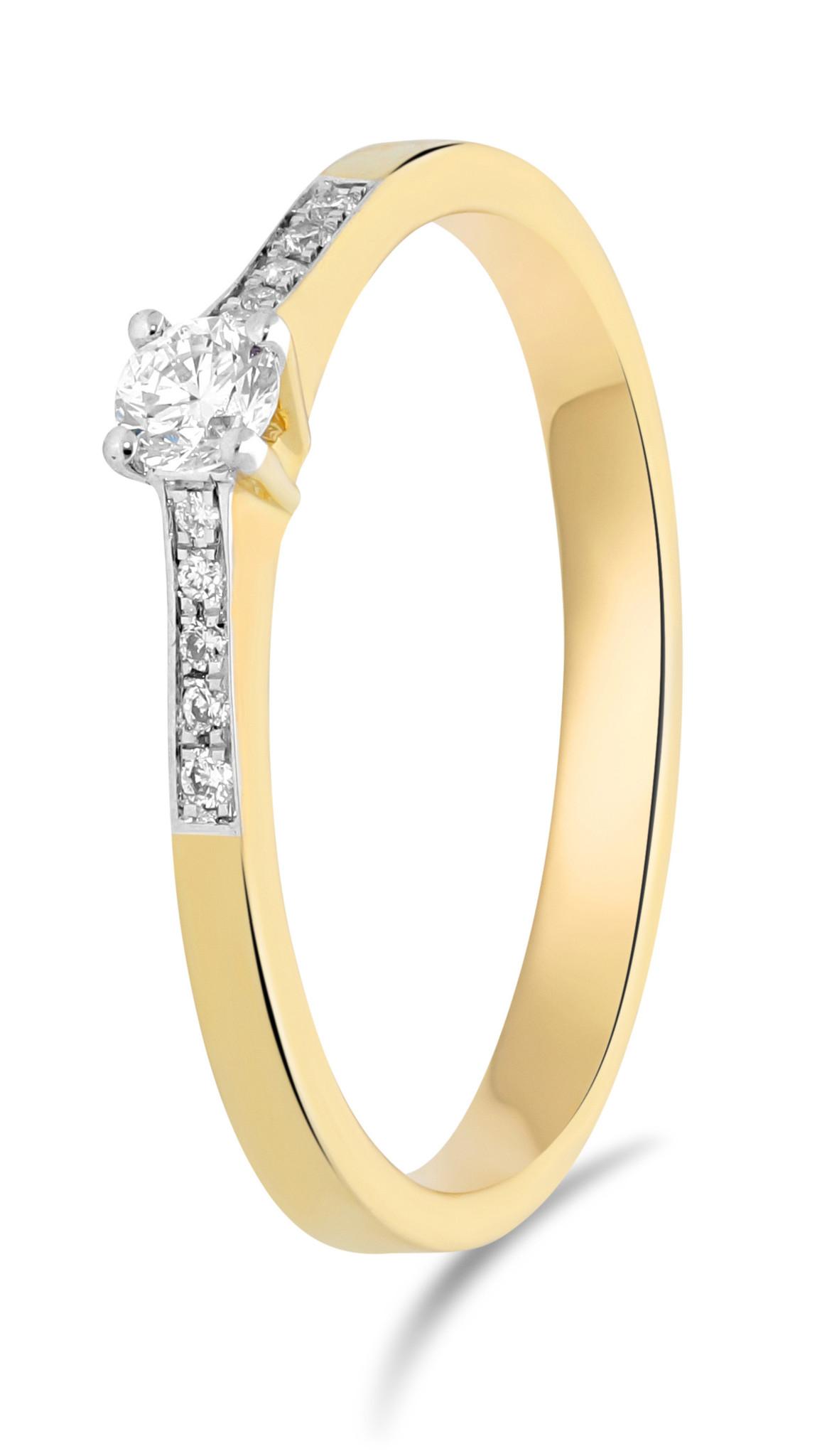 14 karaat geelgouden ring met diamanten 0.05 crt. - Solitair - Geelgoud-1