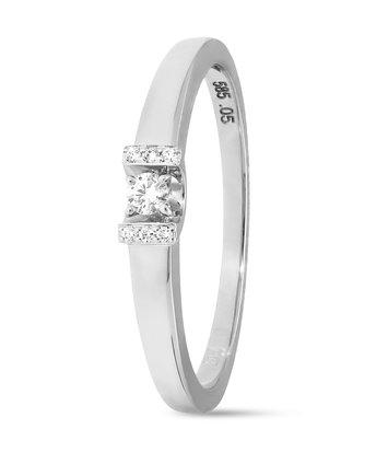 14 karaat witgouden ring met 7 diamanten 0.05 crt. - Solitair - Witgoud