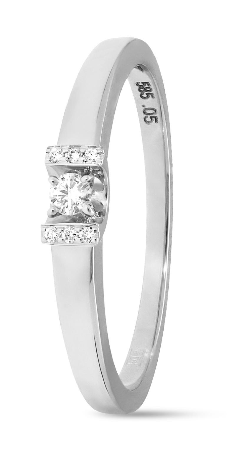 14 karaat witgouden ring met 7 diamanten 0.05 crt. - Solitair - Witgoud-1