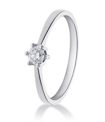 14 karaat witgouden ring met 1 diamant 0.10 crt. - Solitair - Witgoud