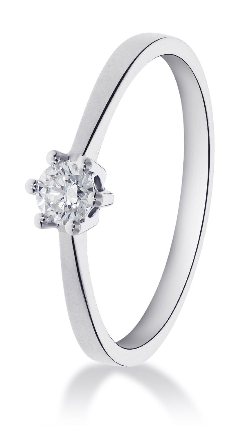 14 karaat witgouden ring met 1 diamant 0.10 crt. - Solitair - Witgoud-1