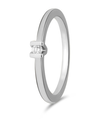 14 karaat witgouden ring met 1 diamant 0.05 crt. - Solitair - Witgoud