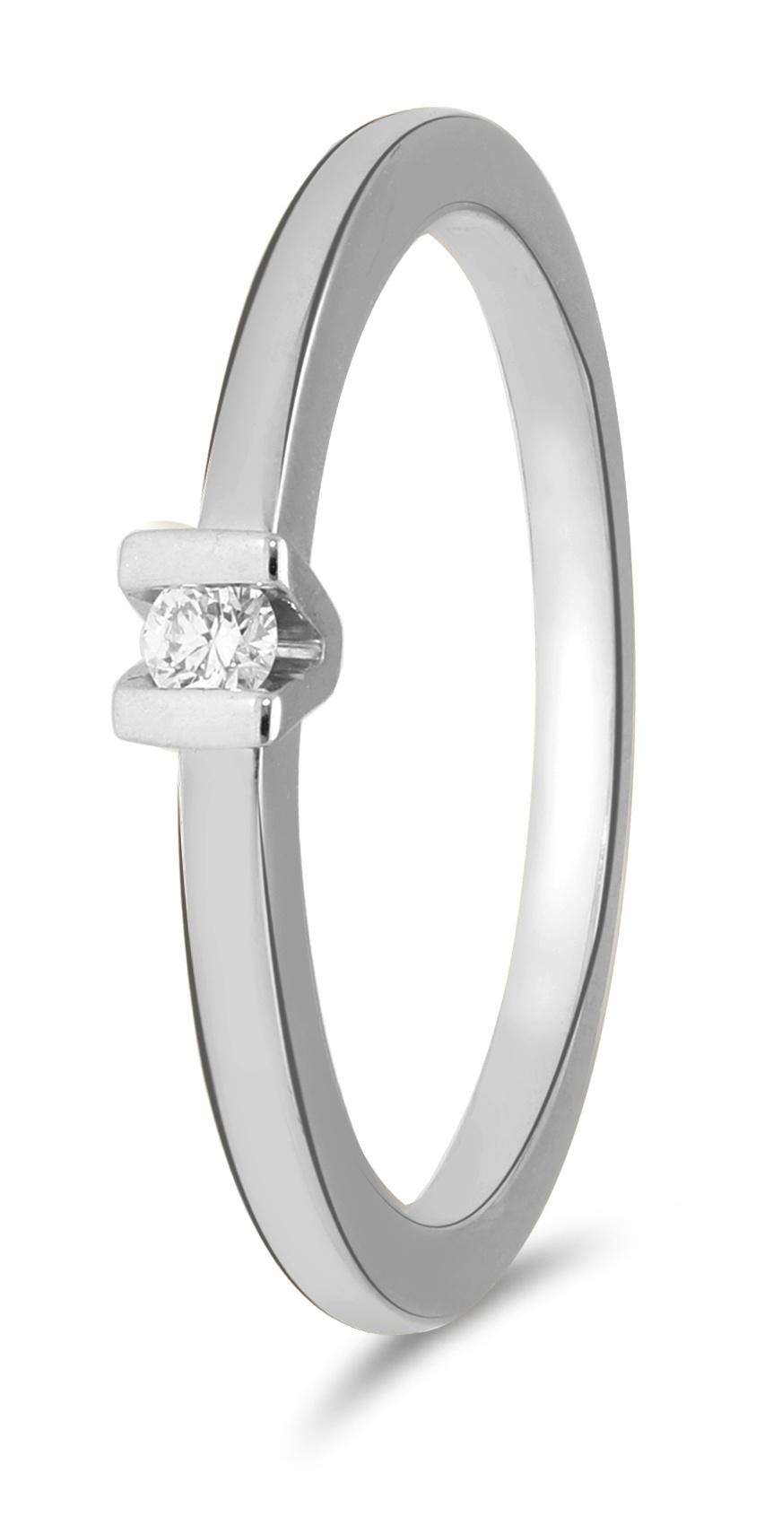 14 karaat witgouden ring met 1 diamant 0.05 crt. - Solitair - Witgoud-1