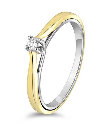 14 karaat gouden ring met diamant 0.05 crt. - Solitair - Wit/Geelgoud