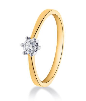 14 karaat geelouden ring met diamant 0.15 crt. - Solitair - Geelgoud