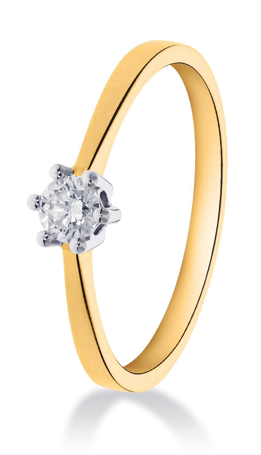 14 karaat geelouden ring met diamant 0.15 crt. - Solitair - Geelgoud-1