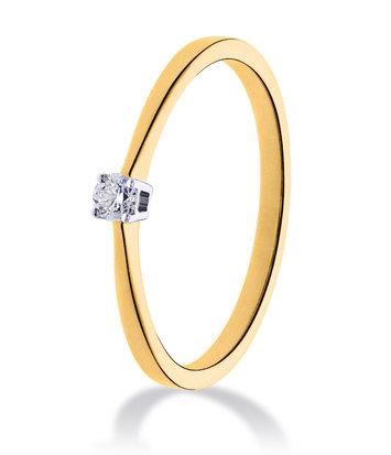 14 karaat geelgouden ring met diamant 0.10 crt. - Solitair - Geelgoud