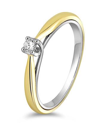 14 karaat gouden ring dames met diamant 0.07 crt. - Solitair - Wit/Geelgoud
