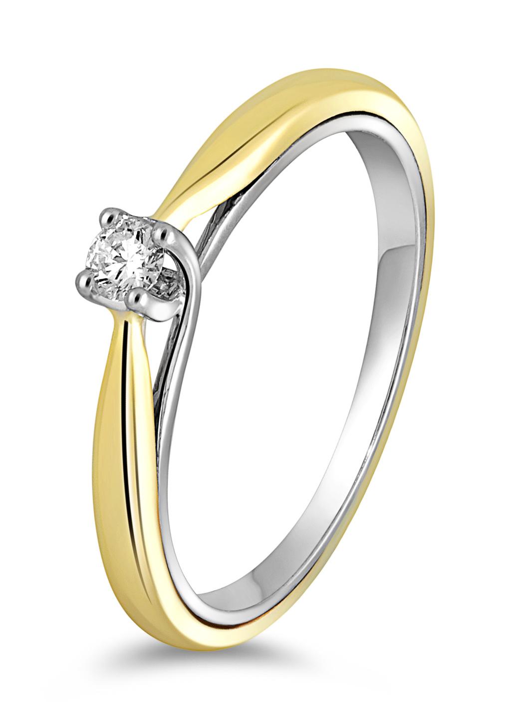 14 karaat gouden ring dames met diamant 0.07 crt. - Solitair - Wit/Geelgoud-1