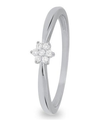 14 karaat witgouden ring dames met 7 diamanten 00.5 crt. - Solitair - Witgoud