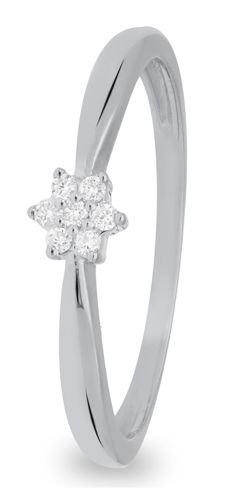 14 karaat witgouden ring dames met 7 diamanten 00.5 crt. - Solitair - Witgoud-1