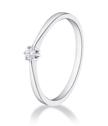 14 karaat witgouden ring met diamant 0.03 crt. - Solitair - Witgoud