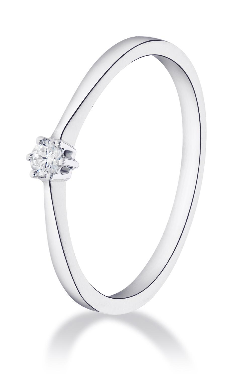 14 karaat witgouden ring met diamant 0.03 crt. - Solitair - Witgoud-1