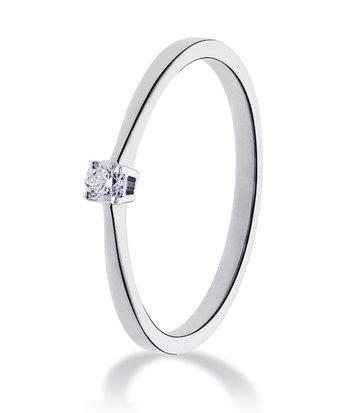 14 karaat witgouden ring met diamant 0.10 crt. - Solitair - Witgoud