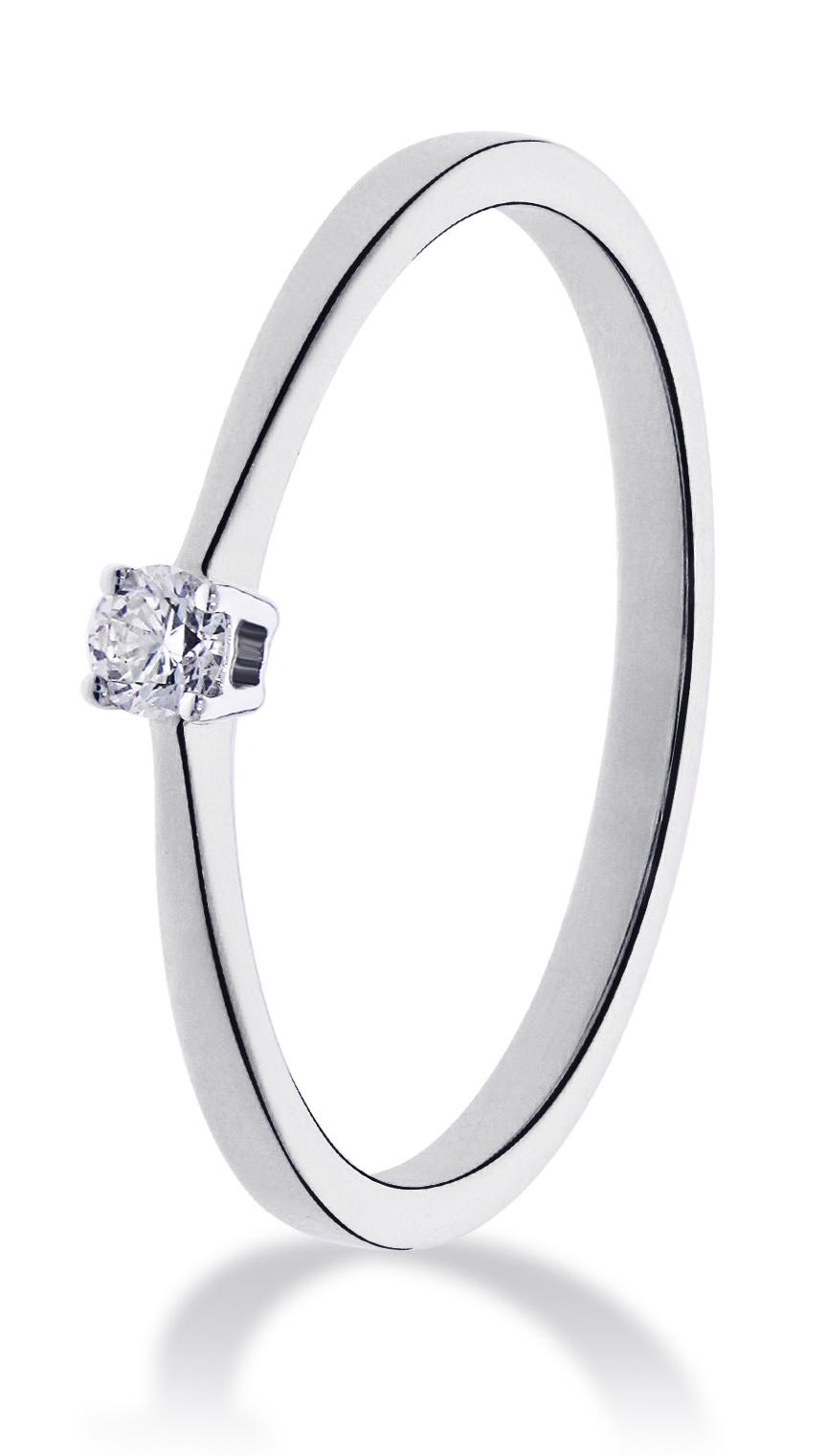 14 karaat witgouden ring met diamant 0.10 crt. - Solitair - Witgoud-1