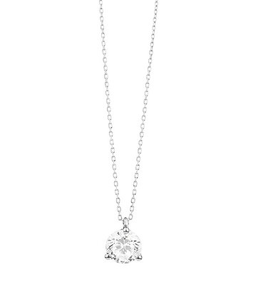 18 karaat witgouden ketting met diamant - Vanaf 0.05 ct. - 3 poot chaton - 18 karaat