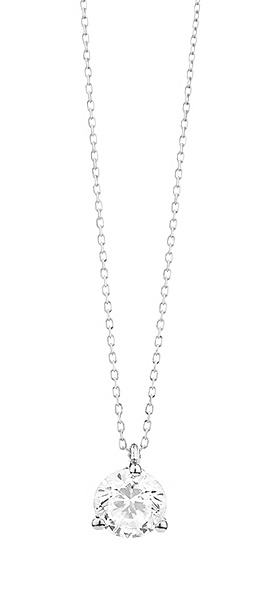 18 karaat witgouden ketting met diamant - Vanaf 0.05 ct. - 3 poot chaton - 18 karaat-1