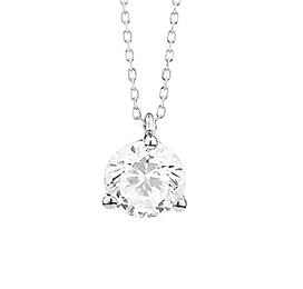 18 karaat witgouden ketting met diamant - Vanaf 0.05 ct. - 3 poot chaton - 18 karaat-2