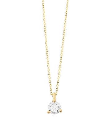 18 karaat geelgouden ketting met diamant - Vanaf 0.05 ct. - 3 poot chaton - 18 karaat
