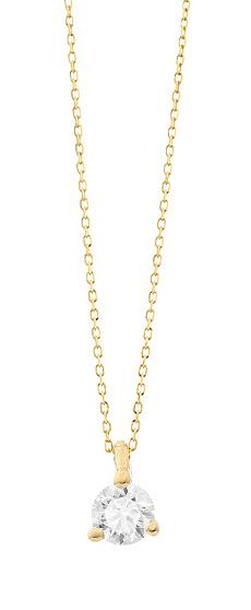 Geelgouden ketting met diamant - Vanaf 0.05 ct. - 3 poot chaton - 18 karaat-1