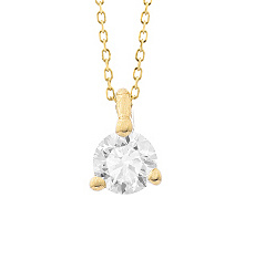 Geelgouden ketting met diamant - Vanaf 0.05 ct. - 3 poot chaton - 18 karaat-2