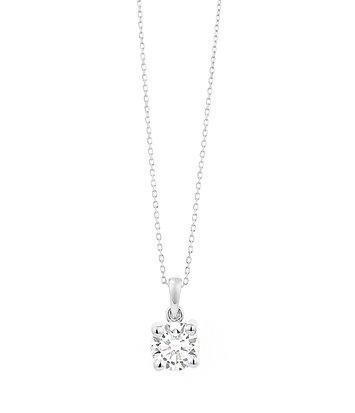 18 karaat witgouden ketting met diamant - Vanaf 0.05 ct. - 4 poot chaton - 18 karaat goud