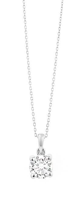 18 karaat witgouden ketting met diamant - Vanaf 0.05 ct. - 4 poot chaton - 18 karaat goud-1