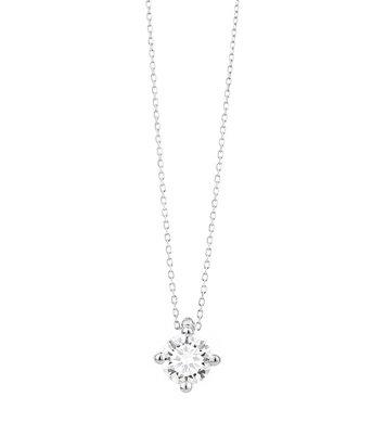 18 karaat witgouden ketting met diamant - Vanaf 0.10 ct. - 4 poot chaton - 18 karaat
