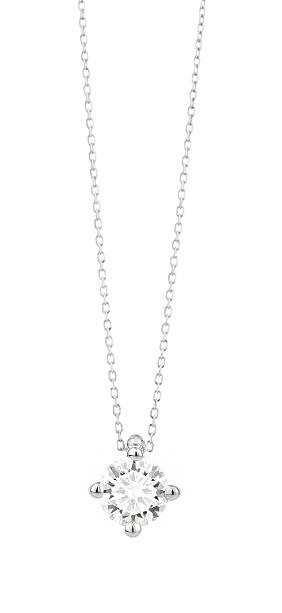 18 karaat witgouden ketting met diamant - Vanaf 0.10 ct. - 4 poot chaton - 18 karaat-1