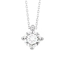18 karaat witgouden ketting met diamant - Vanaf 0.10 ct. - 4 poot chaton - 18 karaat-2