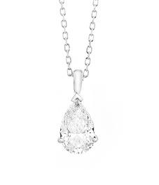 18 karaat witgouden ketting met Pear-diamant - Vanaf 0.05 ct. -  18 karaat-2