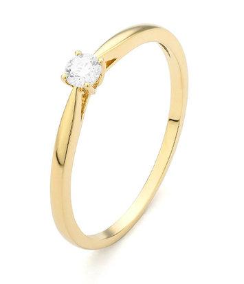 18 karaat geelgouden ring met diamant 0.15 crt. - Solitair - Geelgoud