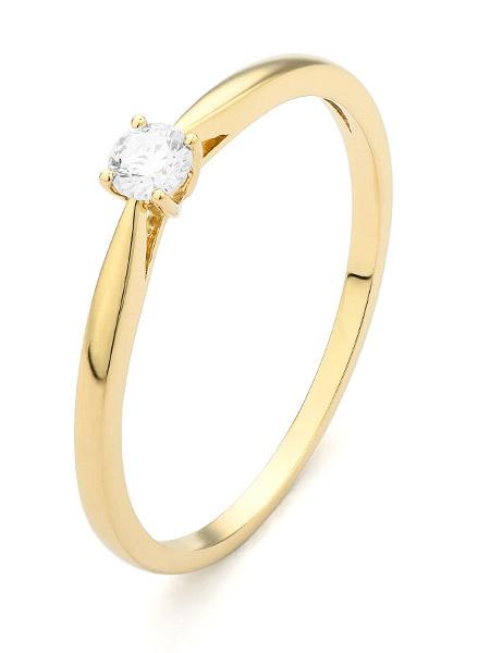 18 karaat geelgouden ring met diamant 0.20 crt. - Solitair - Geelgoud-1