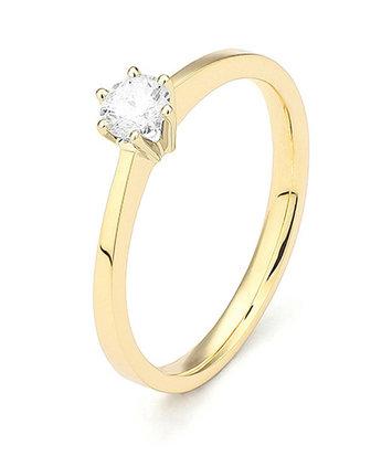 18 karaat geelgouden ring met diamant 0.05 crt. - Solitair - Geelgoud