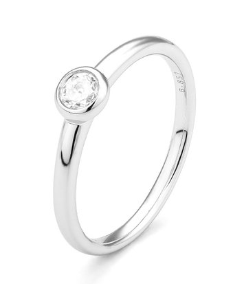 18 karaat witgouden ring met diamant 0.05 crt. - Solitair - Witgoud