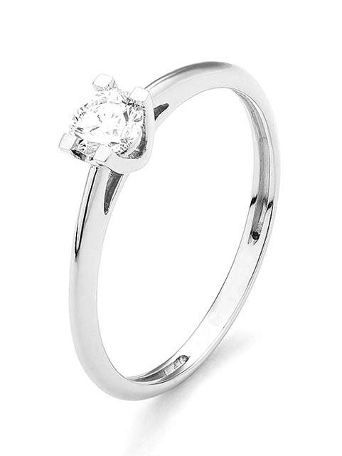 18 karaat witgouden ring met diamant 0.05 crt. - Solitair - Witgoud-1