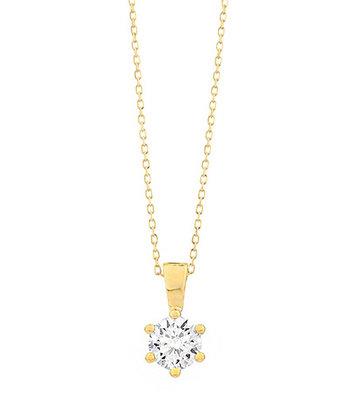 18 karaat geelgouden ketting met diamant - Vanaf 0.05 ct. - 6 poot chaton