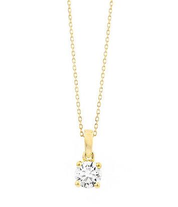 18 karaat geelgouden ketting met diamant - Vanaf 0.05 ct. - 4 poot chaton