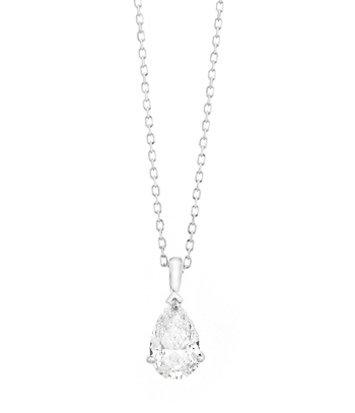 18 karaat witgouden ketting met Pear-diamant - Vanaf 0.05 ct. -  18 karaat