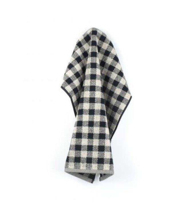 Bunzlau handdoek zwart wit geblokt